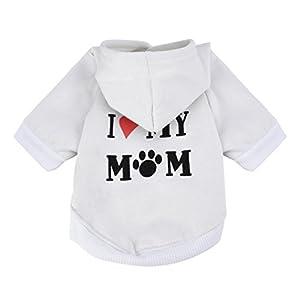 Howstar Pet Clothes, Puppy Hoodie Sweater Dog Coat Warm Sweatshirt Love My Mom Printed Shirt 3