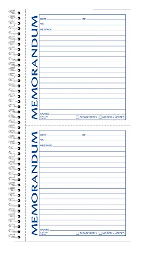 TOPS Memorandum Forms Book, 2-Part, Carbonless, 2 Memos per Page, 100 Sets per Book (4150) ()