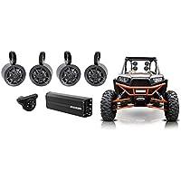 4 Kicker 5.25 Tower Speakers+4-Ch Amp+Bluetooth Polaris/JEEP/ATV/UTV/RZR/CART