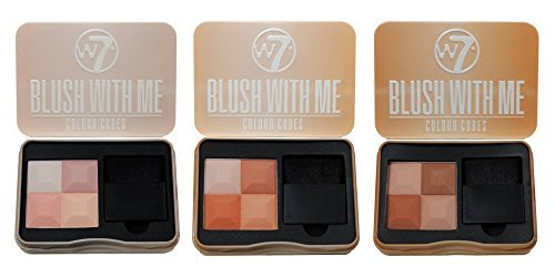 Blush With Me Blusher Cubes by W7 - Set of 3 Blush, Bronzer, Highlighter and Contour Pressed Powder Palettes - A Gorgeous Spectrum of Pink, Peach and Bronzed Shades with Soft Makeup Applicator Brushes