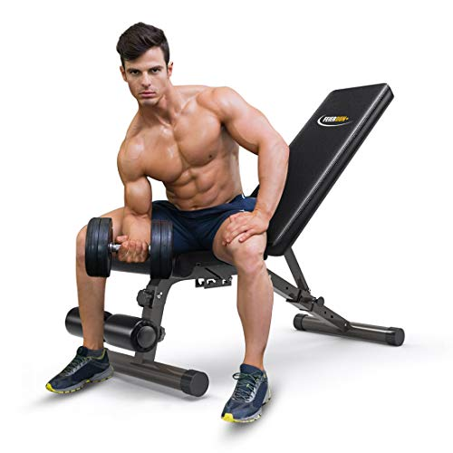 FEIERDUN Adjustable Weight Bench – Multifunction for Full Body Exercise Workout Bench (Black)