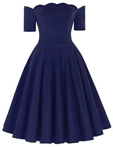 50s style bridesmaid dresses navy - 7