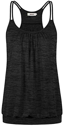 Bepei Running Tank Tops for Women,Sleeveless Fitness Gym Dri Fit Athletic Sweat Shirt Feminine Trendy Soft Comfortable Breathable Camisole Pleated Front Pullover Layering Relaxed Roomy Blouse Black XL Banded Bottom Drape Top