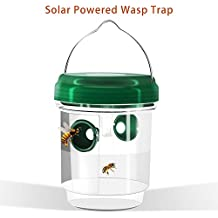TAKUSKY Wasp Trap Catcher, Wasp Repellent,Perfect Outdoor Solar Powered Trap with Ultraviolet LED Light for Yellow Jackets, Bees, Wasps, Hornets, Bugs and More.