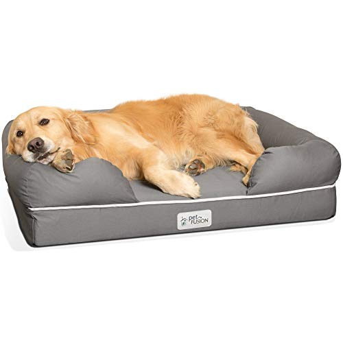 "PetFusion Large Orthopedic Dog Bed, 4"" Solid Memory Foam, Waterproof liner, Removable Cover. [Gray, Rectangle pet bed, dog couch, dog sofa, dog lounge]. Breathable cotton & polyester fiber blend"