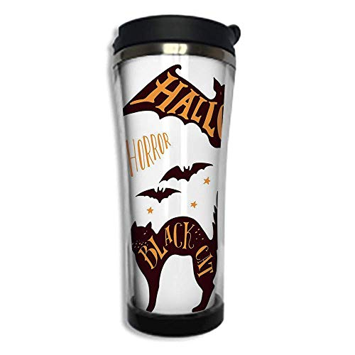 Customizable Travel Photo Mug with Lid - 14.2OZ(420 ml) Stainless Steel Travel Tumbler, Makes a Great Gift by,Vintage Halloween,Halloween Symbols Trick or Treat Bat Tombstone Ghost Candy Scary Decorat ()