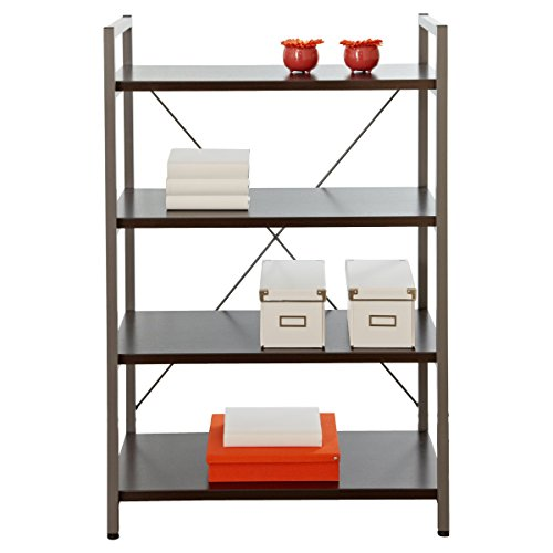 Bookshelves Crafted with a Durable Metal Frame Espresso Modern Bookcase with 4 Shelves - 32W x 16D x 48H in. Assembly Required (48h 4 Shelf)