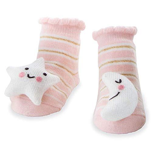 Mud Pie Moon Star Rattle Toe Socks, 0-12 Months