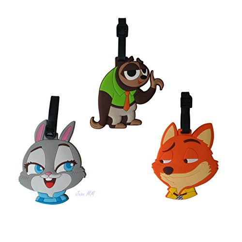 Tracy-B 3 Pack Cartoon Animal Luggage Tags, Bag Tag Travel ID Labels Tag For Baggage Suitcases Bags (Animal Luggage Tag)