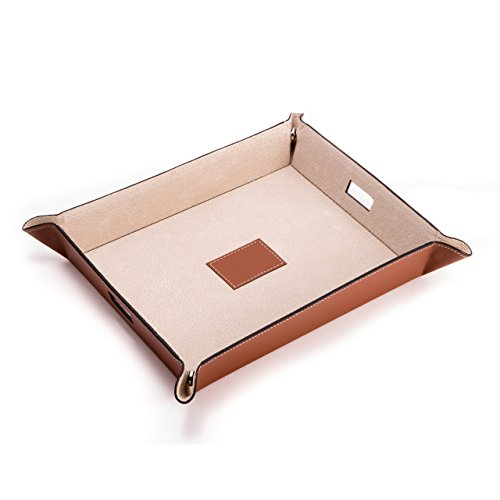 (Bey Berk Large Snap Leather Valet and Charging Station with Pig Skin Leather )