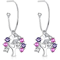 Tree of Life, 925 Sterling Silver Hoop Earrings for Women Girls Birthday Wedding Anniversary Engagement Valentine's Day FQ00020
