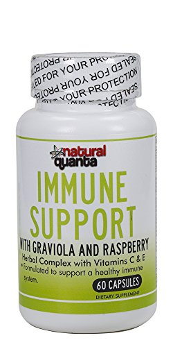 Immune Support with graviola and Raspberry Herbal Complex with Vitamins C & E 60 Capsules