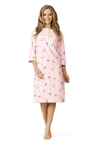 Comtessa Damen Nachthemd Knopfleiste Farbwahl Sommer 2016 Apricot mwAff