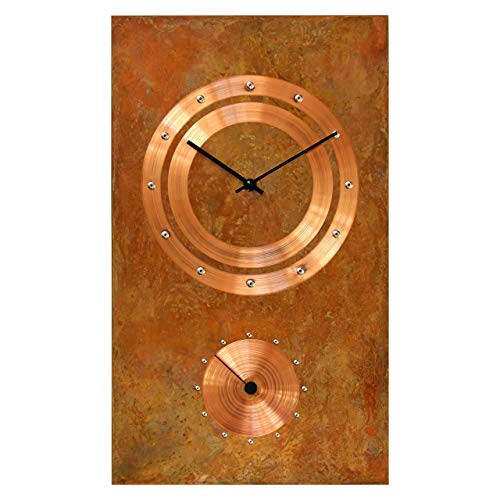 Large Rectangle Copper Rustic Wall Clock 18-inch - Silent Non Ticking Gift for Home/Office/Kitchen/Bedroom/Living Room