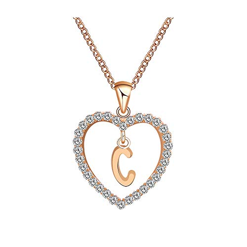 Gbell Fashion Girls Women A-Z Letters Necklaces Charms,26 English Alphabet Name Chain Pendant Necklaces Jewelry Birthday Gifts, Ideal for Party Costume,Wedding,Engagement (C) -