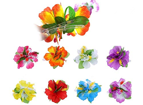 - Hawaiian Hibiscus Flower Hair Clip,Fabric Artificial Tropical Flower Hairpin Barrette Hair Accessories for Luau Beach Party(8pcs with Assorted Colors)