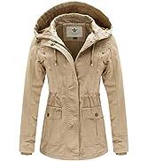 WenVen Women's Outdoor Windbreaker Jacket Casual Cotton Coat Ladies Slim Fit Jacket Classic Full-...