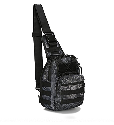 TOVOT Sling Bag Shoulder Bags Outdoor Casual Cross Body Bag Army Fans Tactical Shoulder Pack Outdoor Hiking Camping for Women and Man Casual Bags … (Python black)