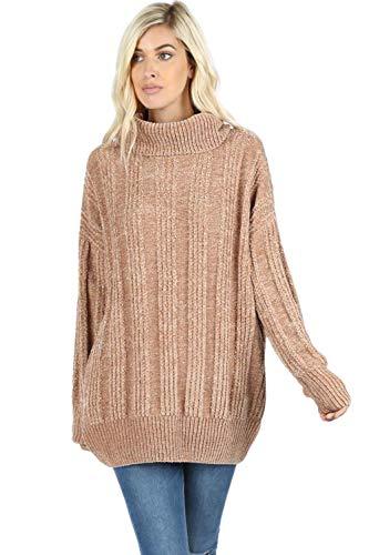 - Sweaters for Women Turtle Cowl Neck Vertical Stripe Velvet Yarn Long Sleeve Sweater-Mocha (Large)