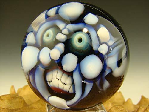 Vortex Glassworks Art Glass Blue Goblin Marble Collectible Oddity 3D Orb Sphere Third Eye Deity Kaleb Folck (Ready to Ship)