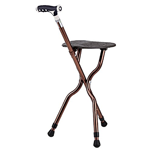 G&M Adjustable Folding Walking Cane Chair Stool Massage Walking Stick with Seat Portable Fishing Rest Stool with LED Light for Elder - Cane Stool Folding