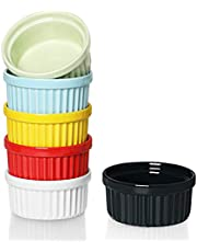 ONTUBE Ramekins - Porcelain Ramekins for Creme Brulee Dishes,Dipping Sauces,Baking Pudding Cups, Souffle Bowl,Oven Safe, Set of 6 (Colorful, 4 OZ)