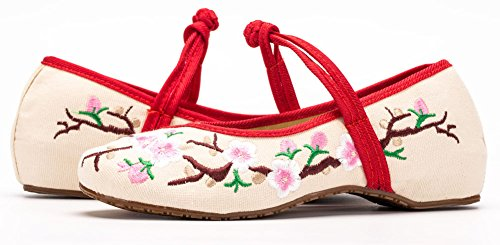 AvaCostume Embroidery Womens Classics Flats Rubber Sole Casual Shoes White JxiBS