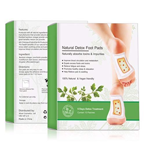 LifeBest Bamboo Vinegar Detox Foot Pads Wormwood Extract and Ginger Foot Stickers Detox Foot Pads Natural for Anti-Stress Relief Better Sleep Detox Cleanse Foot Care