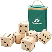 ApudArmis Giant Wooden Yard Dice Game, 3.5'' Big Dice Lawn Game Set with Scoreboard & Carrying Bag