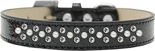 Black Size 12 Black Size 12 Mirage Pet Products Sprinkles Ice Cream Dog Collar with Pearl and Clear Crystals, Size 12, Black