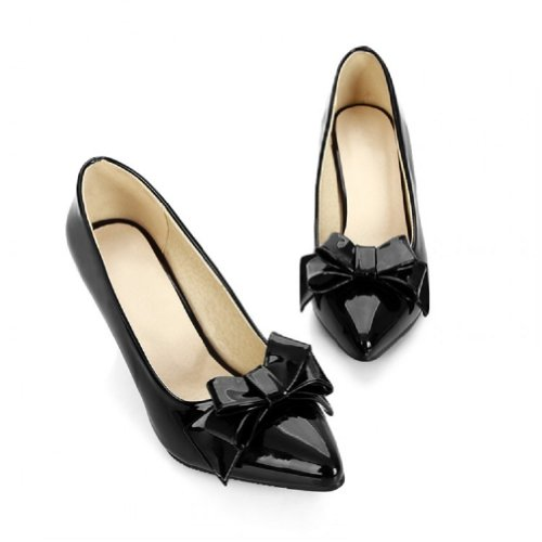Ladies Mary Foot Heel Shoes Fashion High Charm Pumps Dress Bows Black Jane xtp1daY
