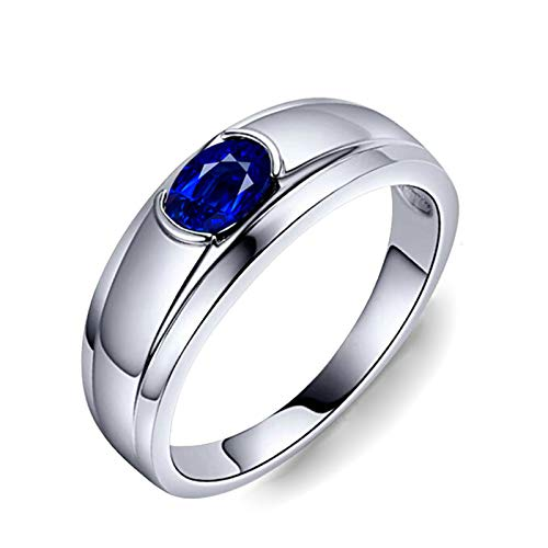 MoAndy White Gold 18K Ring for Women Wedding Rings for Her Sapphire 1.1ct Blue Size 5.5