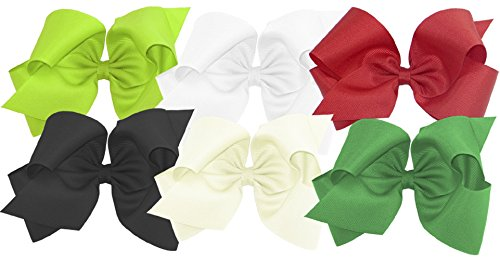 Wee Ones Girls' King Bow 6 pc Set Solid Grosgrain Variety Pack on a WeeStay Clip - Apple Green, White, Red, Black, Antique White, Green