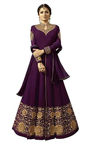 Women's Faux Georgette Embroidered Floor Length Anarkali Salwar Suit (X-Large, Purple)