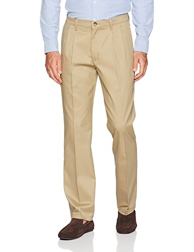 LEE Men's Total Freedom Stretch Relaxed Fit Pleated Front Pant, Khaki, 33W x 30L