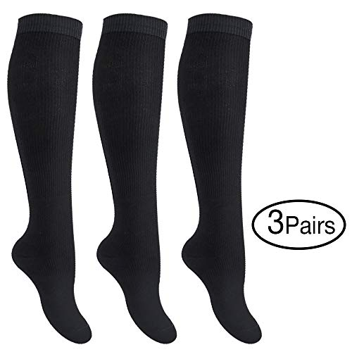 Fytto (3 Pairs) 4080 Compression Socks, Graduated 15-20mmHg Support Hosiery for Varicose Veins, Improves Circulation, Reduces Swelling, and Energizes Legs, Knee-High, Unisex, Black, XX-Large