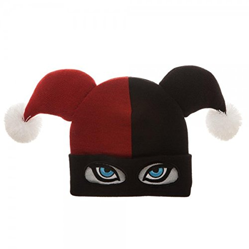 Amazon.com  Bioworld DC Comics Harley Quinn Big Face Jester Beanie ... c1c96831be4