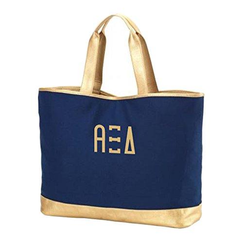 Greekgear Alpha Xi Delta Cabana Large Tote Bag Navy Blue
