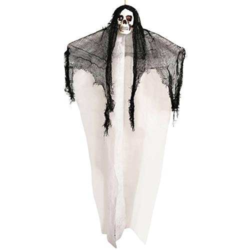 Ochine Animated Hanging Screaming Ghost Decoration, Halloween Skeleton Grim Reaper Door or Wall Curtain for Haunted House Prop Décor Witch Pirate Prisoner Ghost Reaper Haunted Decoration]()