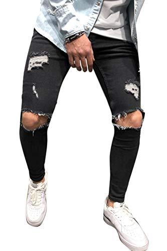 Black Denim Suave Agujero Skinny Jeans Causal Mupoduvos Hombres Pnats Ragged Rasgado U0xvZ