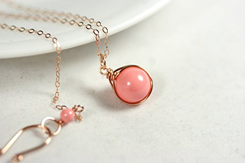(Rose Gold Pink Coral Necklace with Swarovski Pearl Pendant Wire Wrapped Rose or Yellow Gold Filled)
