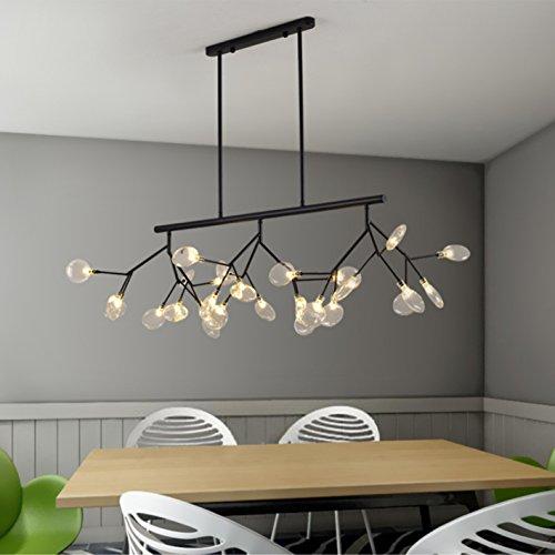 Crystal Linear Chandelier Led Modern Ceiling light Multi Pendant light Kitchen Island Light for dining room living room (Black)