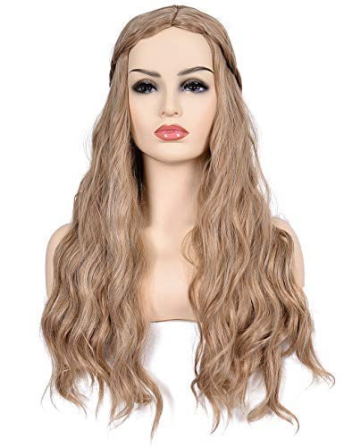 Morvally Long Curly Wavy Synthetic Hair Wigs for Cersei Lannister Hlloween Cosplay Costume Wig (Light Brown)