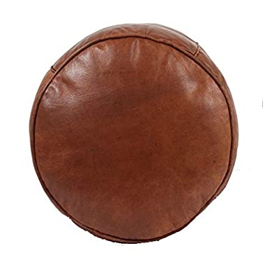 "moroccan pouf leather Pouf Luxury Leather, Leather Pouf Ottoman Leather Pouf Ottoman Morrocan Pouf ottomanMoroccan Tabouret Leather Pouf Ottoman Luxury Leather Color Brown 18'' D (45cm)/16"" H (40cm)"
