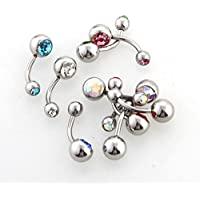 "Ecloud Shopョ 10 Rhinestone Belly Navel Bar Rings Body Piercing 0.31"" Fashion"