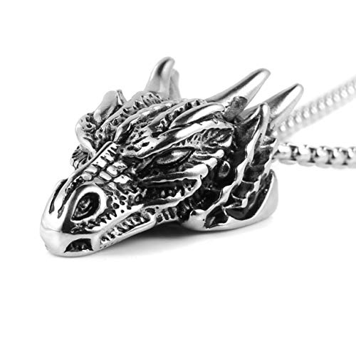 HZMAN Stainless Steel Dragon Head Pendant Necklace for Men Women Vintage Gothic 22+2