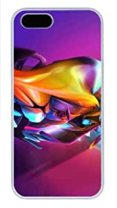 3D Colorful Abstract Colorful Effect Polycarbonate Plastic iPhone 5S and iPhone 5 Case Cover White