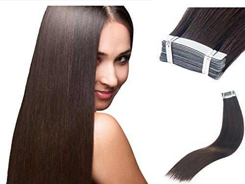 TOFAFA 16 Inch Tape Hair Extensions Unprocessed #2 Dark Brow