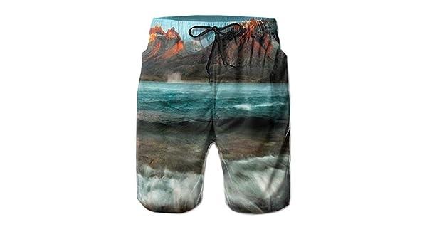 Hateone Mens Beach Shorts Quick Dry Moraine Lake Summer Holiday Mesh Lining Swimwear Board Shorts with Pockets