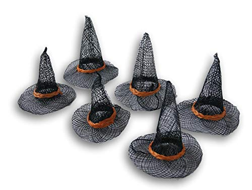 Spooky Town Halloween Decor Set of Six (6) Orange & Black Sinamay Miniature Pointed Witch Hat for Crafts, Decorating & More ()